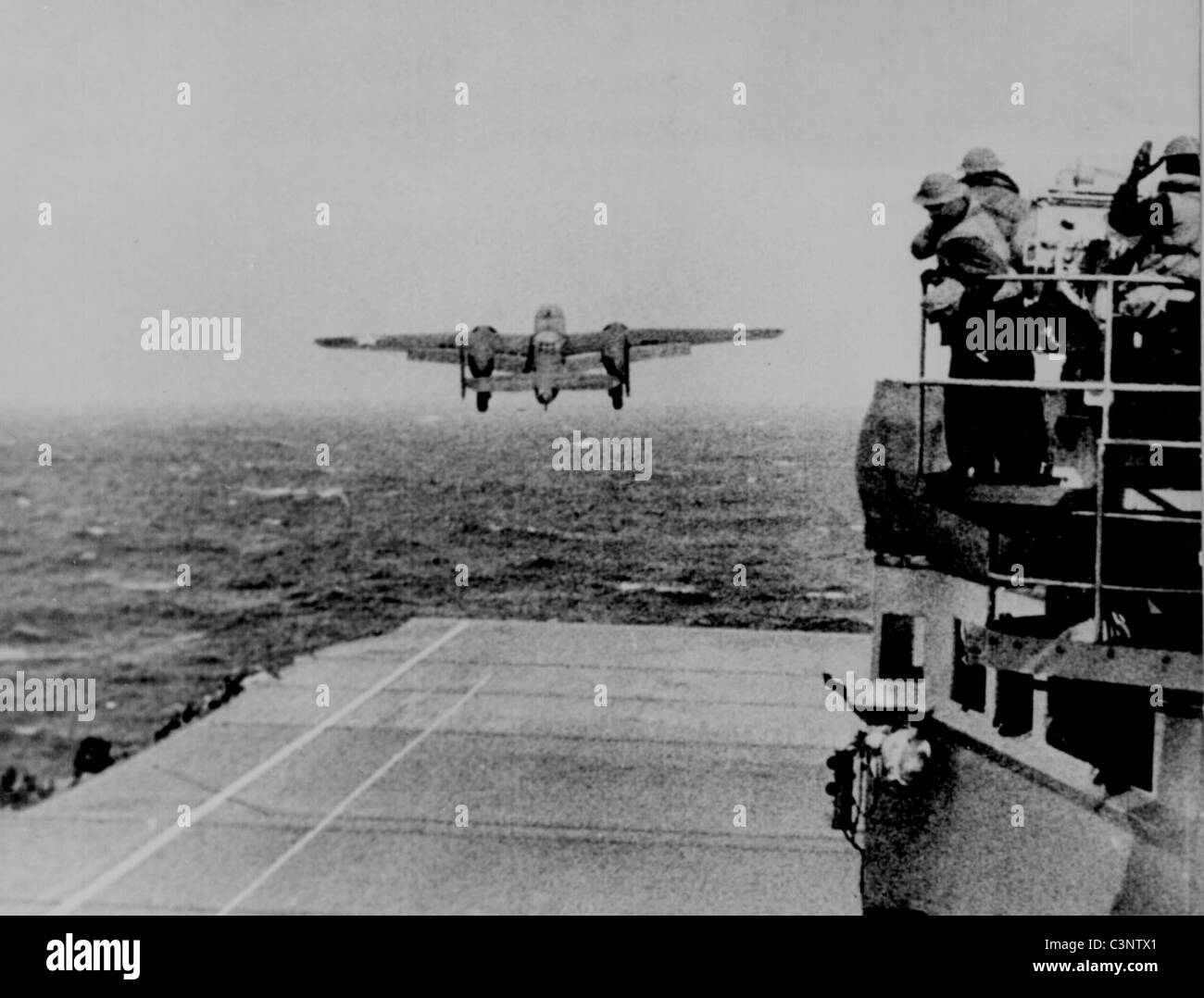 Take off from the deck of the USS Hornet of an Army B-25 on its way to take part in first U.S. air raid on Japan. - Stock Image