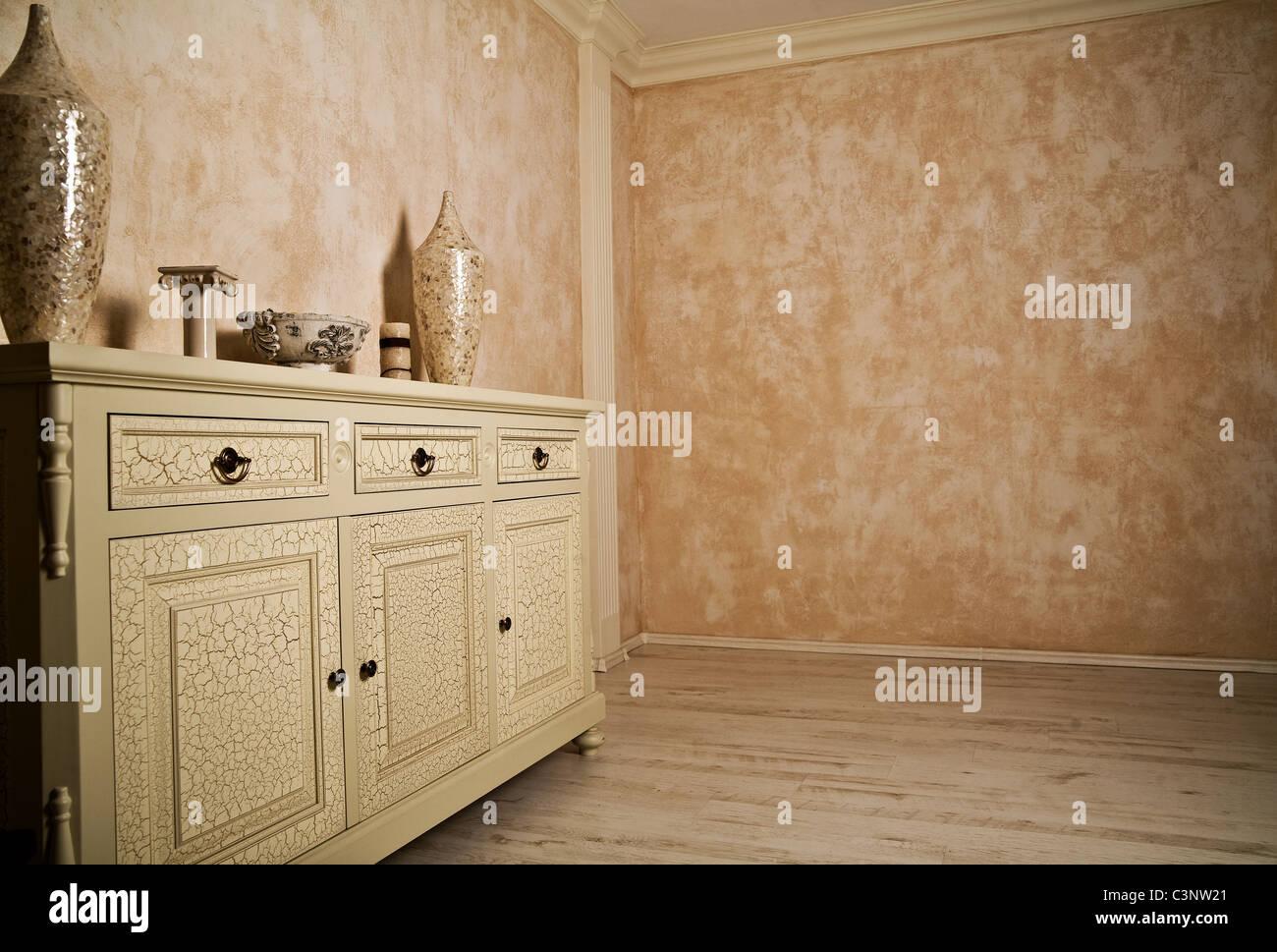 Minimalism designed beige room - Stock Image
