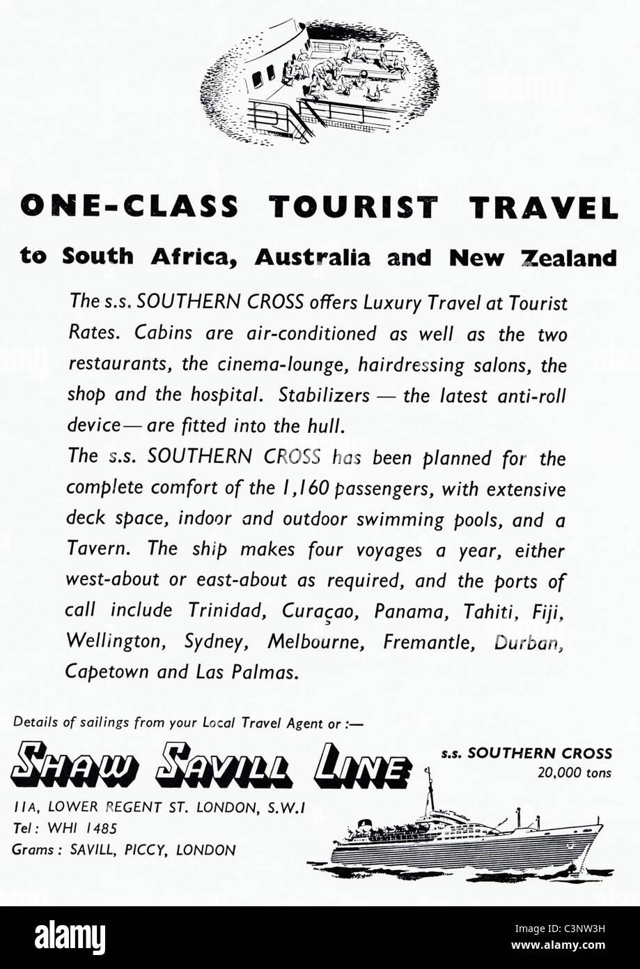Original advertisement in magazine circa 1955 for SHAW SAVILL LINE tourist travel - Stock Image