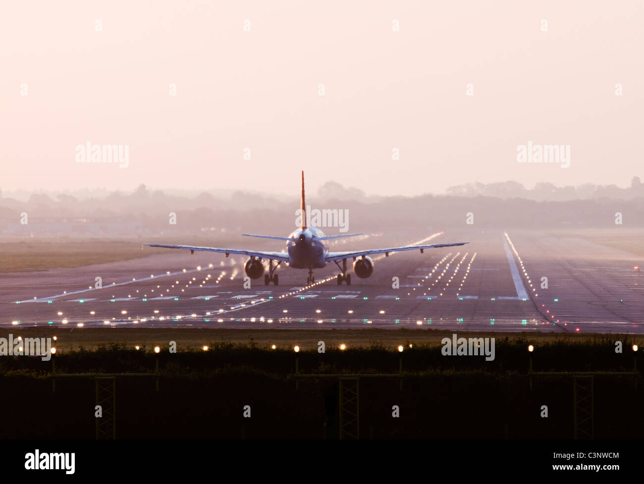 Aircraft about to take off. Gatwick, UK. - Stock Image