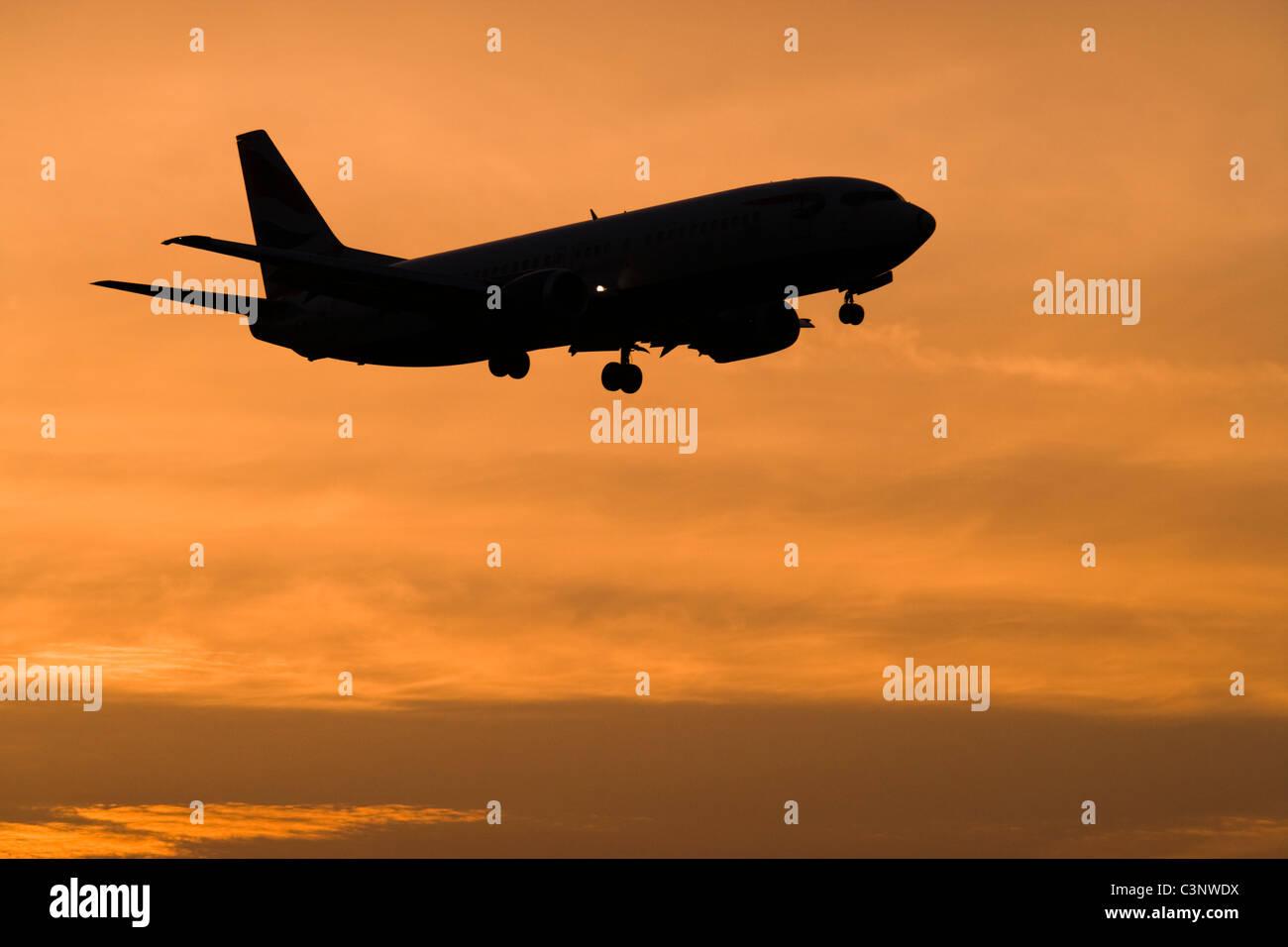 Aeroplane about to land. - Stock Image