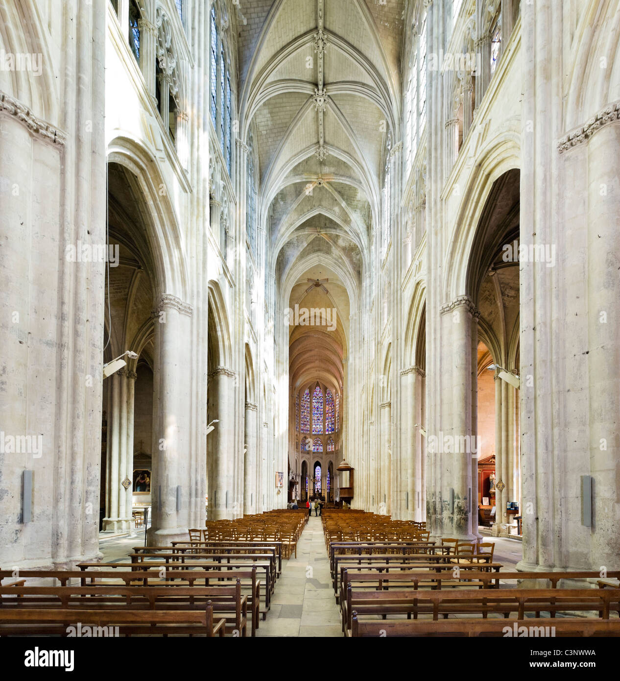 The interior of Tours Cathedral (Cathedrale Saint Gatien), Tours, Indre et Loire, France - Stock Image