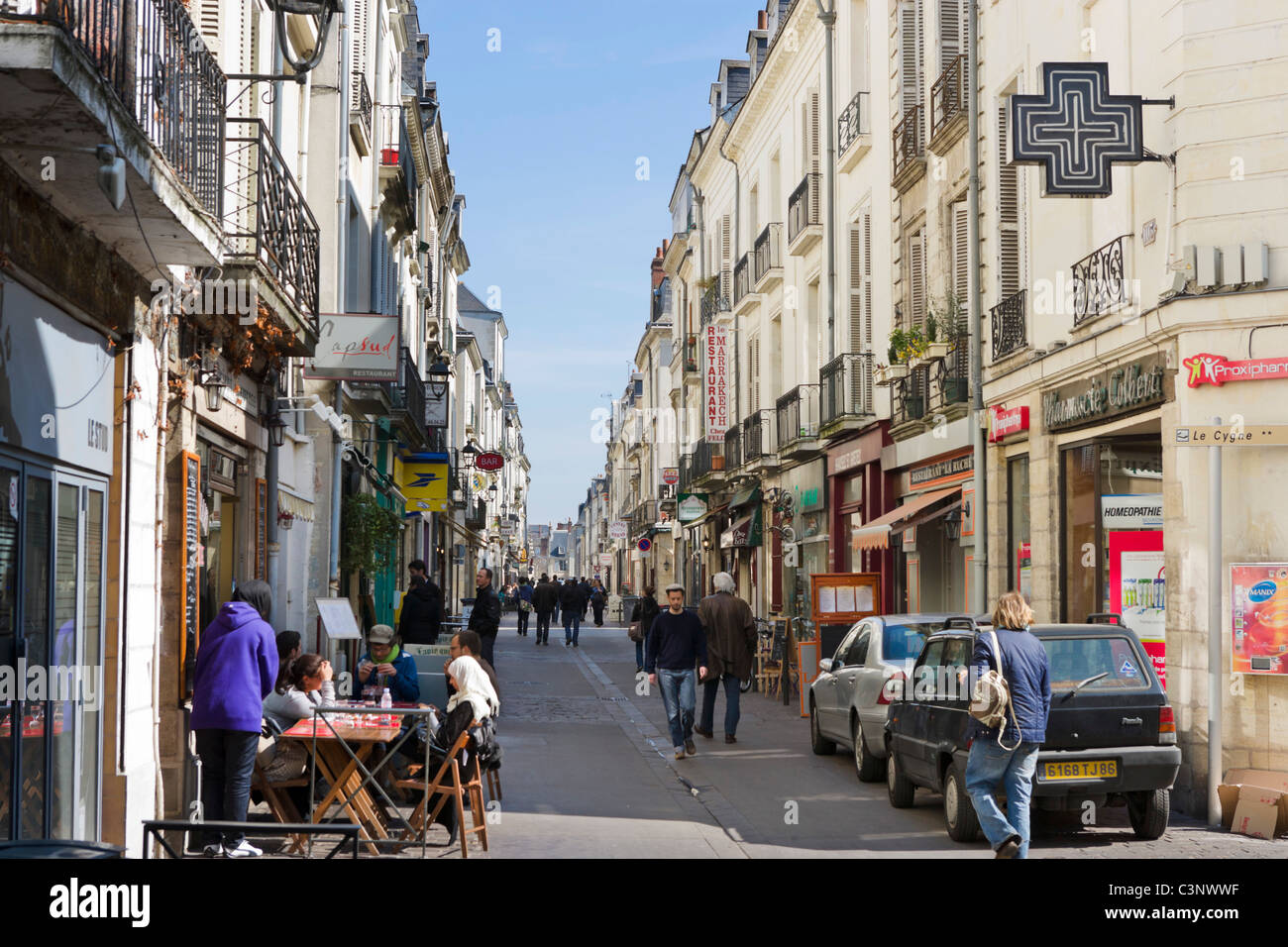 Shops and cafes on Rue Colbert in the centre of the city, Tours, Indre et Loire, France - Stock Image