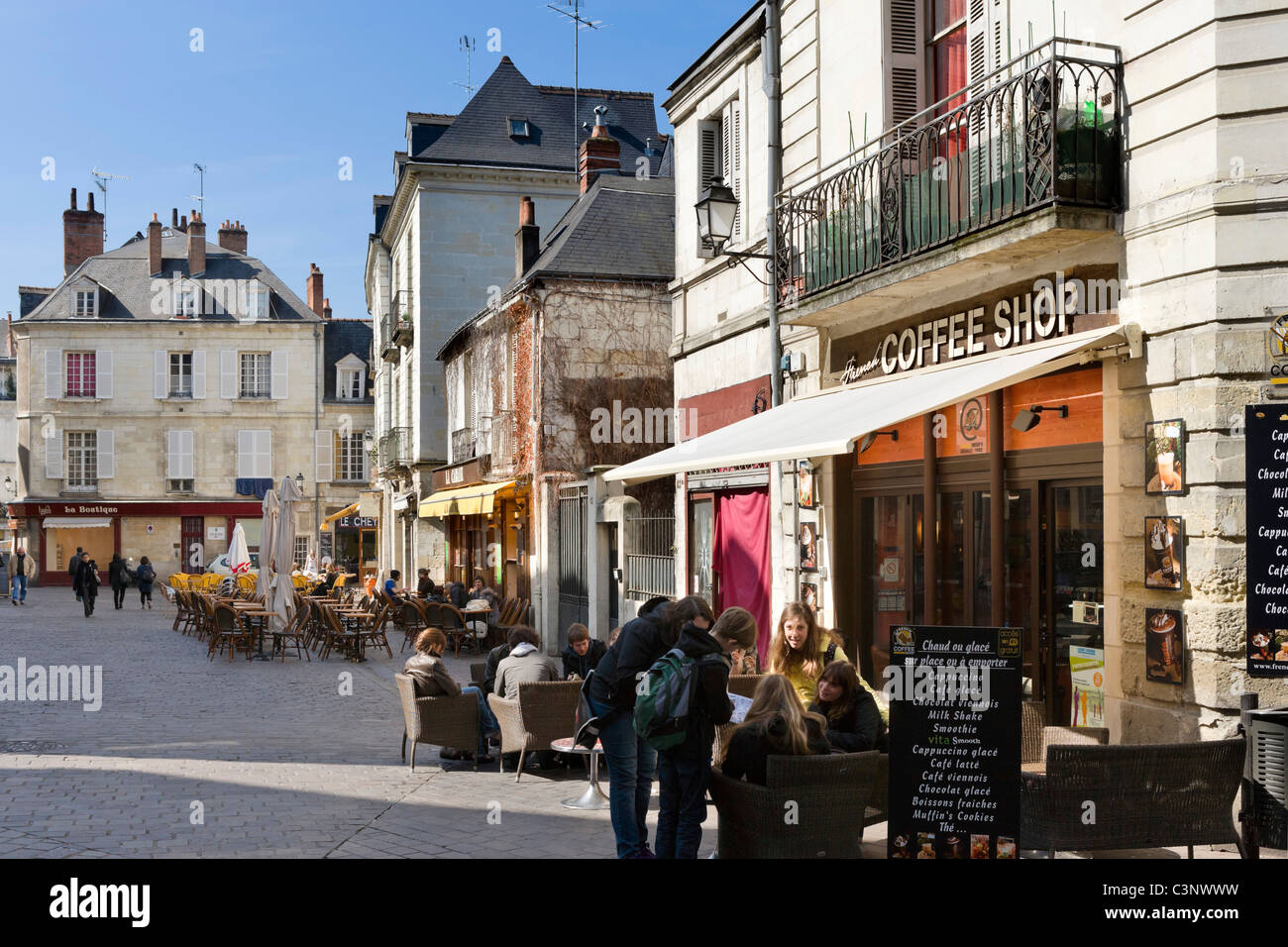 Cafes on Rue du Commerce in the centre of the city, Tours, Indre et Loire, France - Stock Image