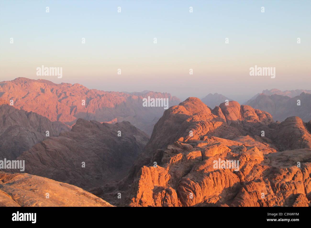 Sunset on Mount Sinai (Jebel Musa), Egypt. - Stock Image