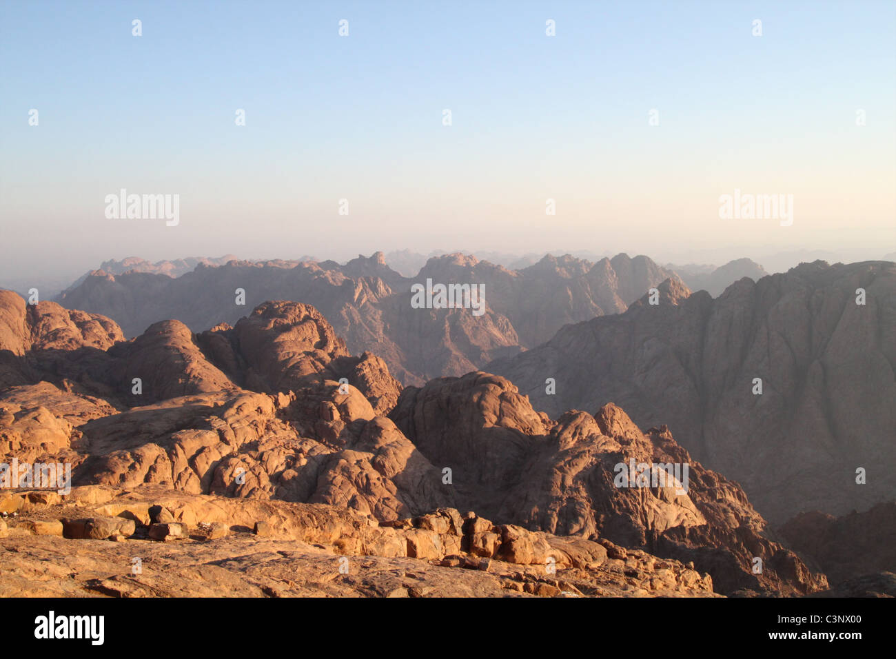 View from the summit of Mount Sinai (Jebel Musa), Egypt. - Stock Image