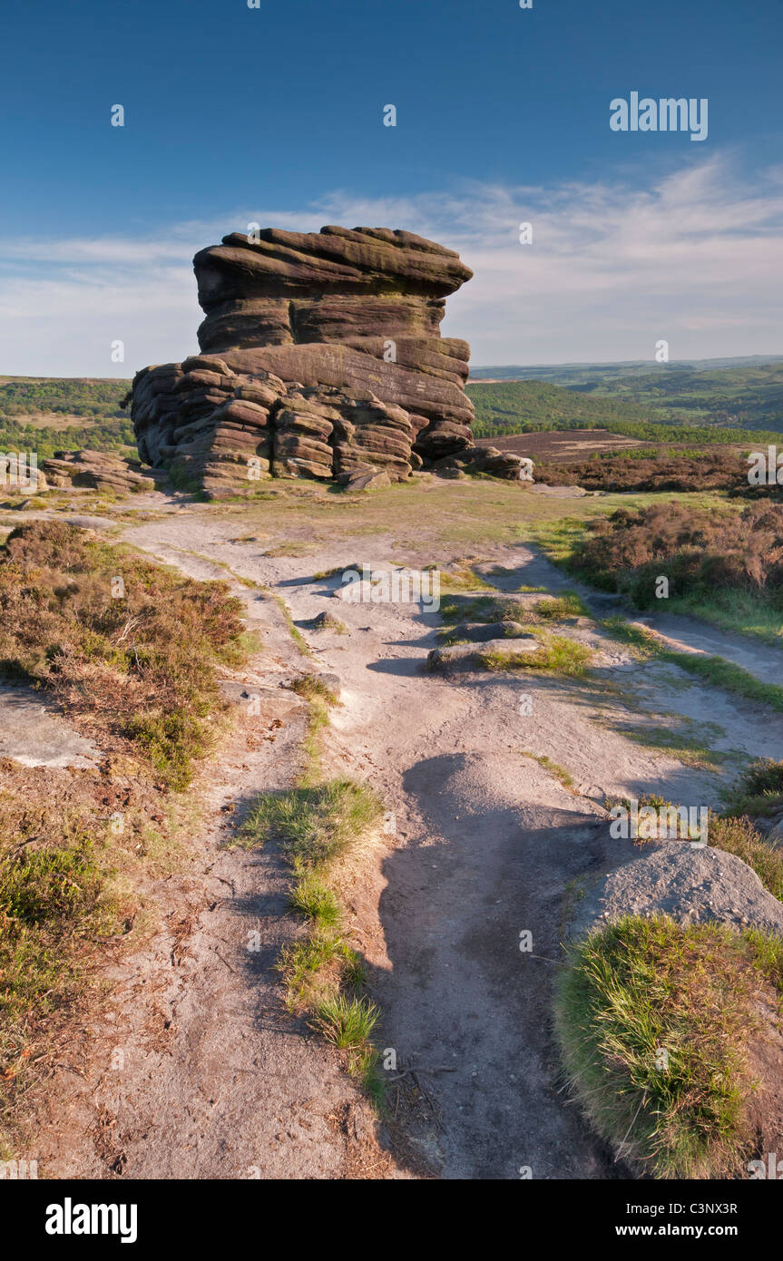 The Mother Cap rock formation on Hathersage Moor, The Peak District, Derbyshire, UK. - Stock Image