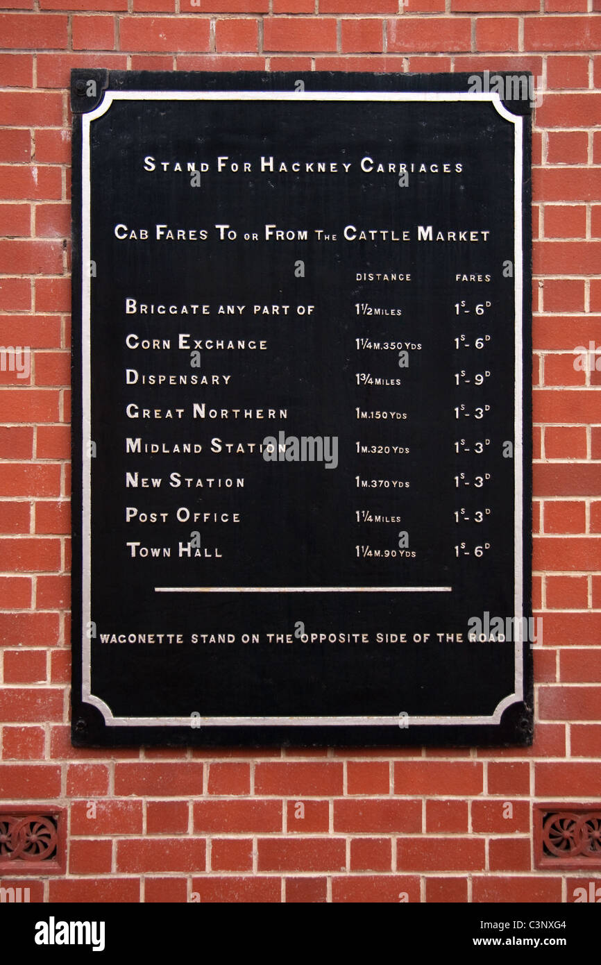 Hackney Carriage fares sign - Stock Image