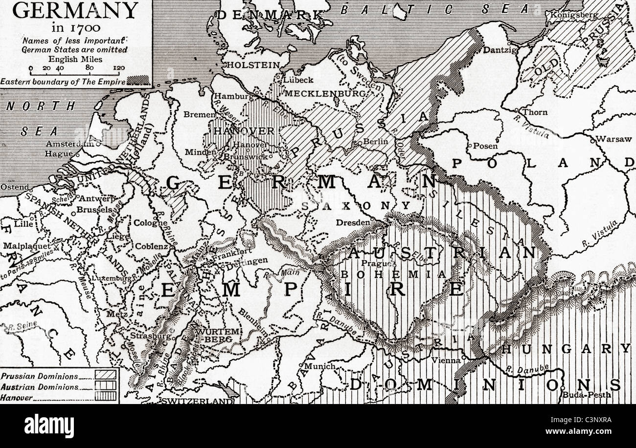 Map of Germany in 1700. From The Story of England, published 1930. - Stock Image