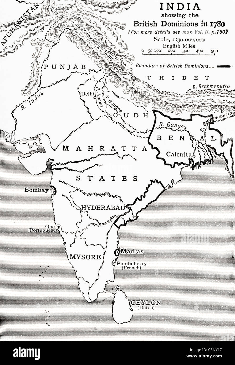 Map of india showing the british dominions in 1780 from the story map of india showing the british dominions in 1780 from the story of england published 1930 gumiabroncs Image collections