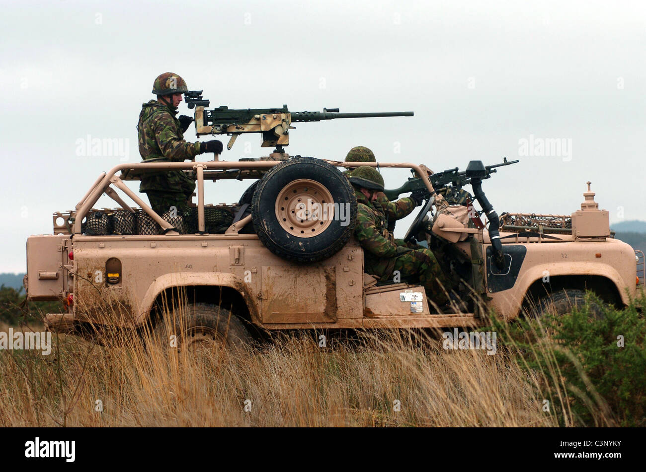 Pinkpanther land rover SAS desert long distance reconnaissance special operations missions US rangers - Stock Image