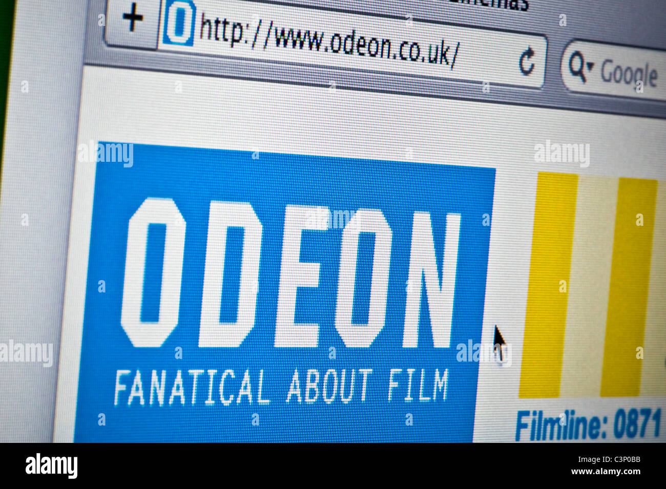 Close up of the Odeon logo as seen on its website. (Editorial use only: ­print, TV, e-book and editorial website). - Stock Image