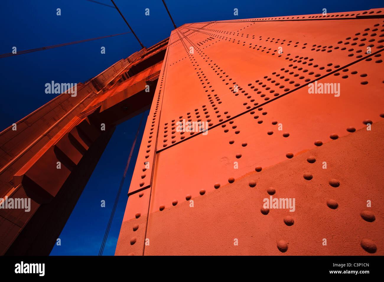 USA, San Francisco California - Architectural detail of Golden Gate Bridge Tower - Stock Image