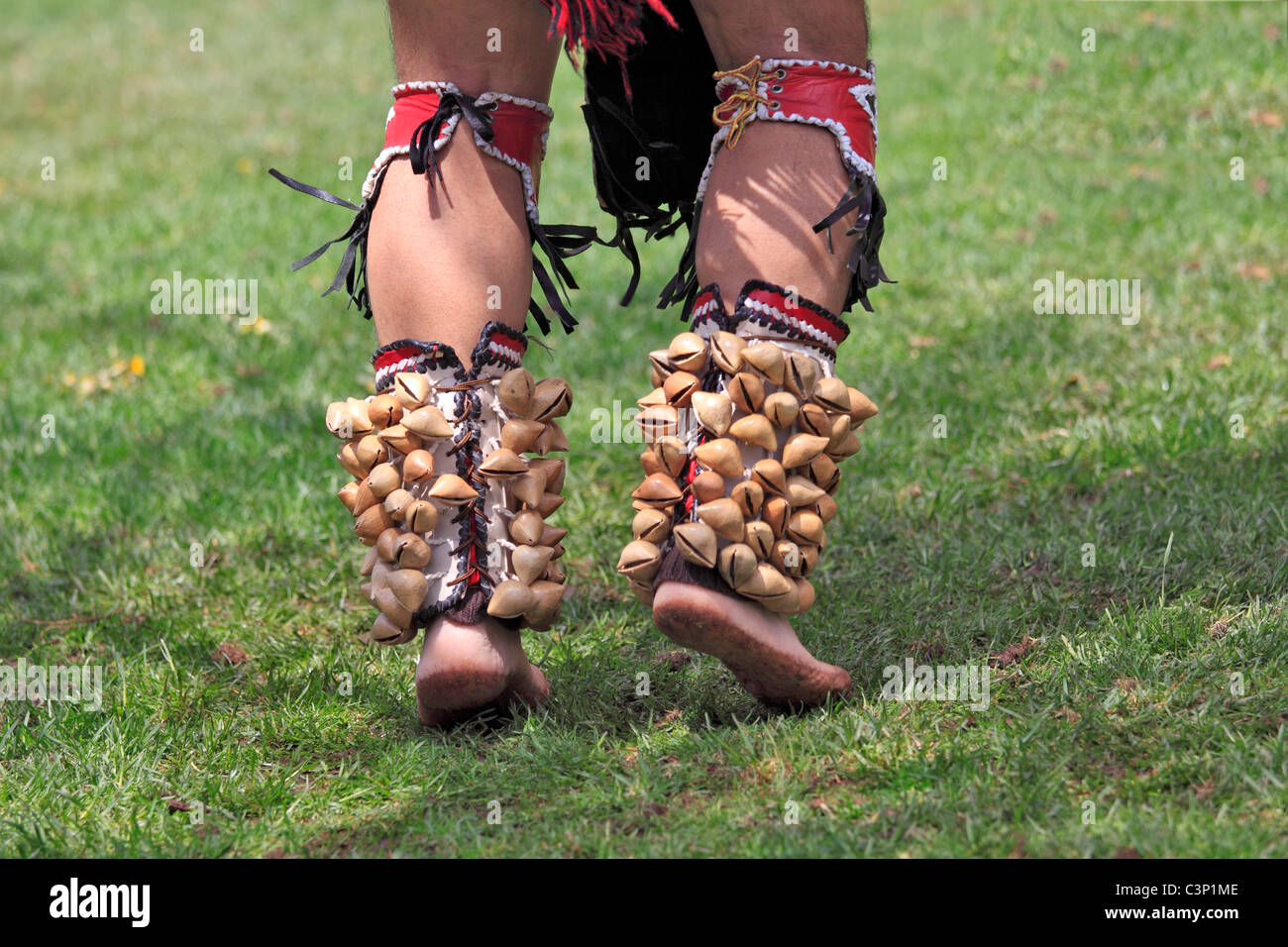 Shells on ankles of native american dancer, Long Island, NY
