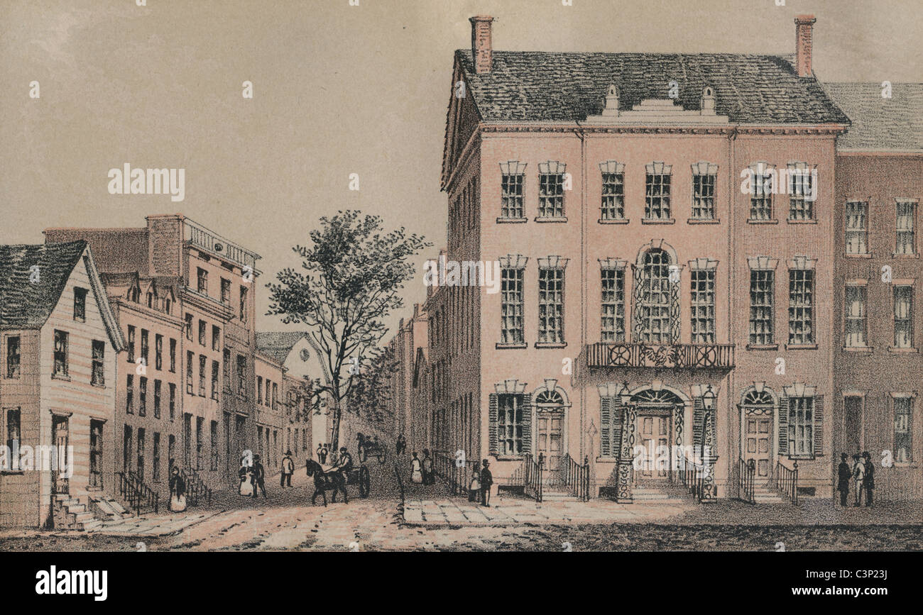 Tammany Hall in 1830. Circa 1860s engraving from D.T. Valentine's Manual. Lithography by G. Hayward, Pearl St., - Stock Image