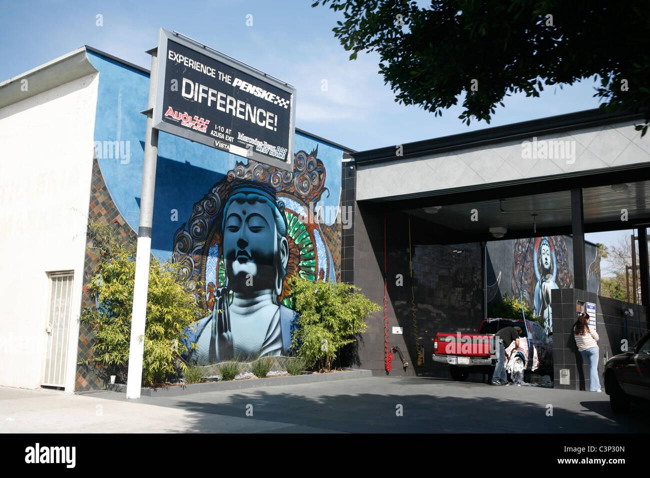 Car wash los angeles stock photos car wash los angeles stock buddah graffiti next to penske repair sign self car wash shop car culture la los angeles solutioingenieria Images