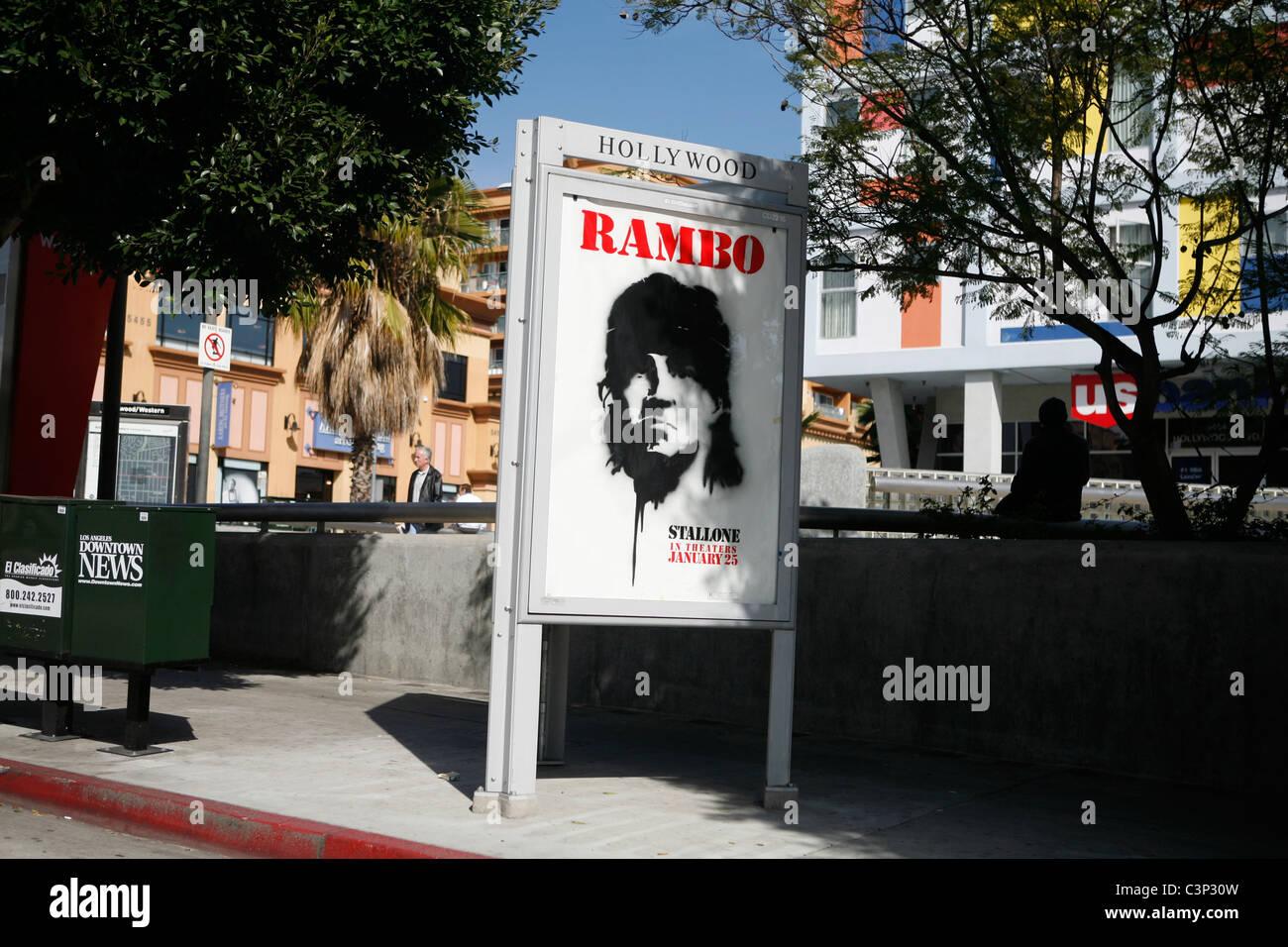 rambo movie advertisement street art stencil style hollywood visual chaos movie industry LA los angeles street scene - Stock Image