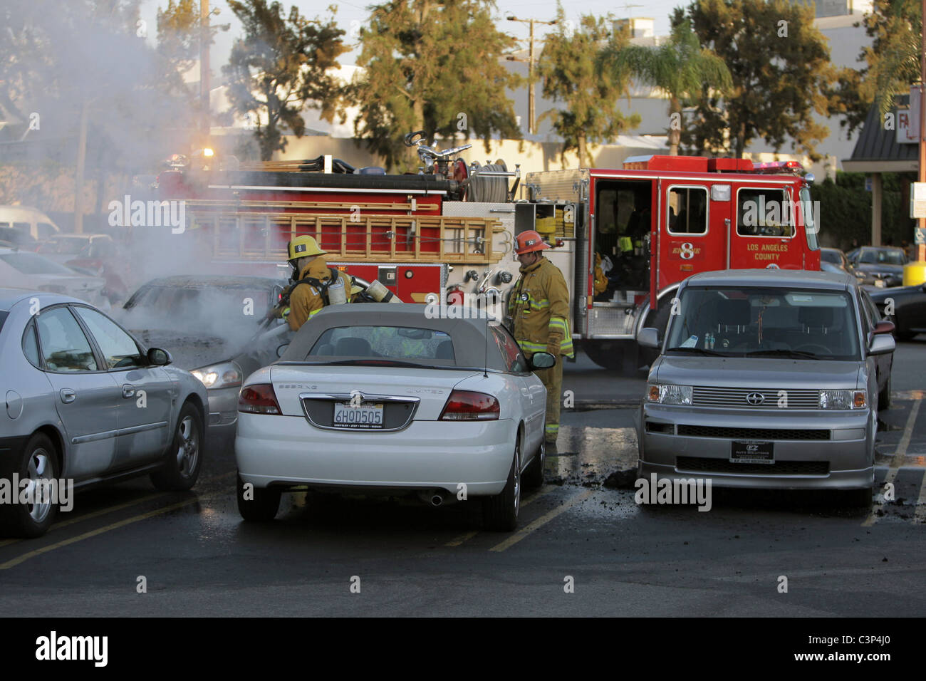 A Car Bursts Into Flames In The Parking Lot Of A Trader Joe S
