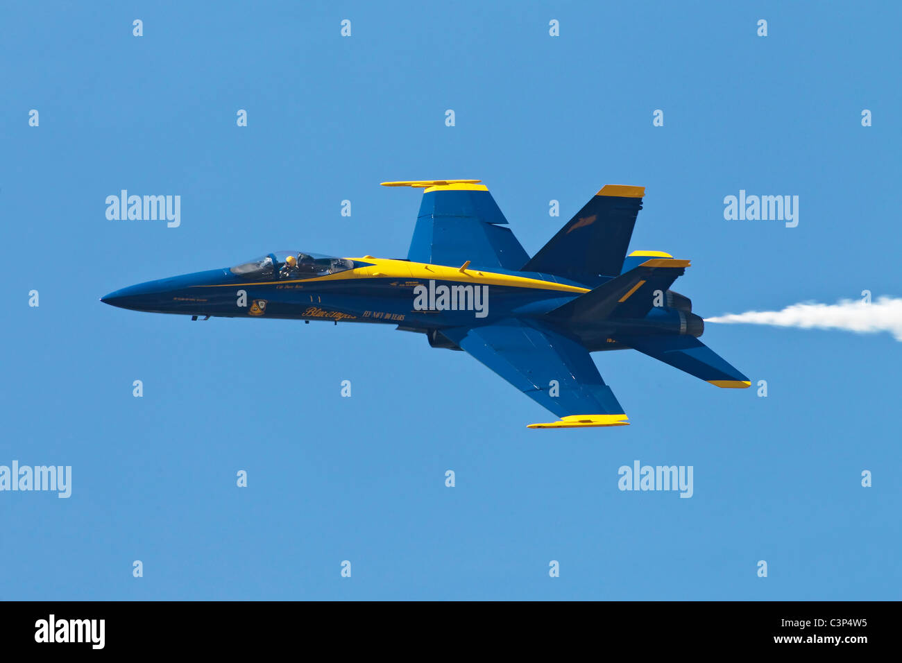 A USN F18 of the US Navy's aerobatic team the Blue Angels - Stock Image