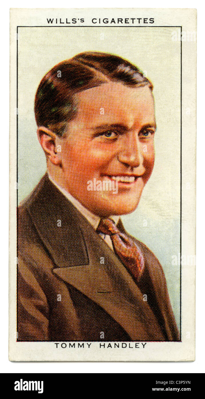 1934 cigarette card with portrait of British comedian and radio star Tommy Handley of  BBC radio series ITMA fame - Stock Image