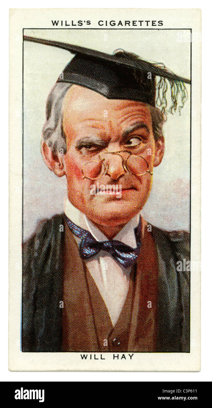 1934 cigarette card with portrait of British radio, TV and film star Will Hay - Stock Image
