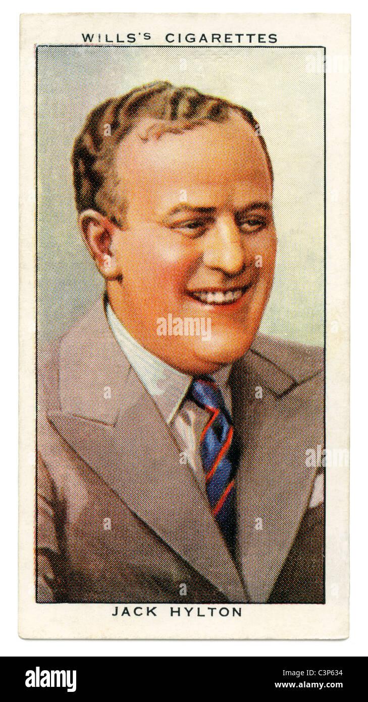 1934 cigarette card with portrait of British radio star and bandleader jack Hylton - Stock Image