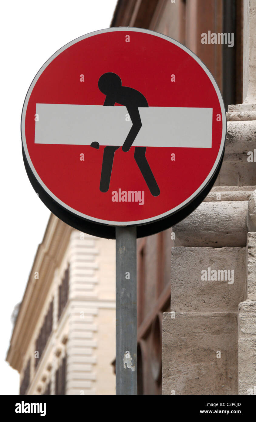 No entry street sign with graffiti type sticker, Rome, Italy. - Stock Image