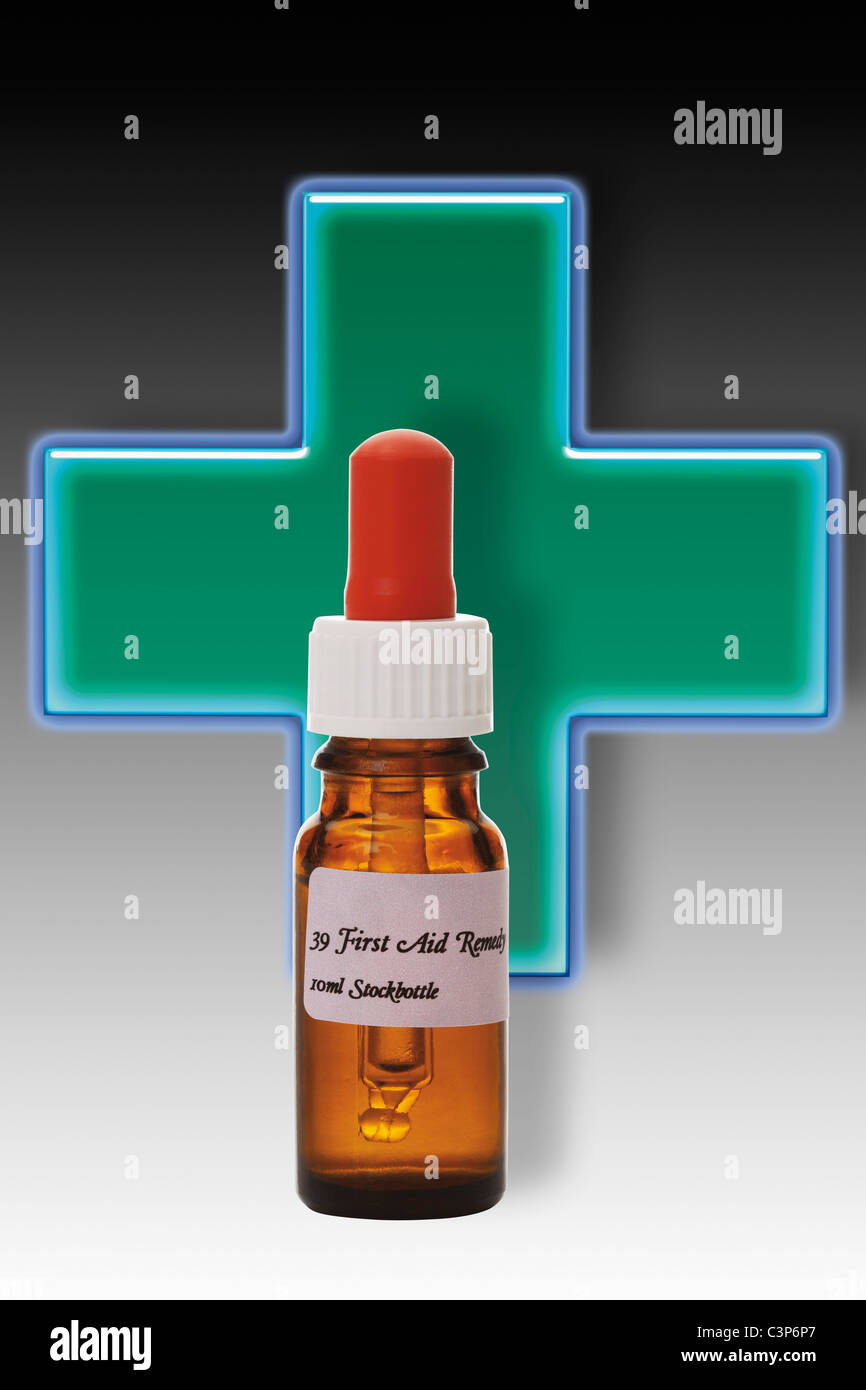 Bottle with First Aid Remedy, close-up - Stock Image