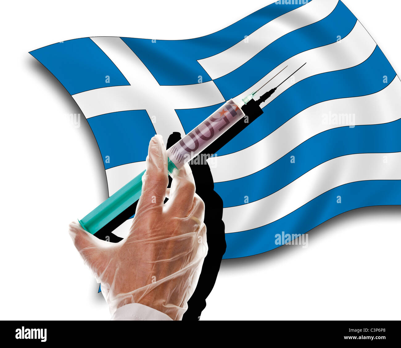 Close up of human hand with cash injection on greek flag - Stock Image
