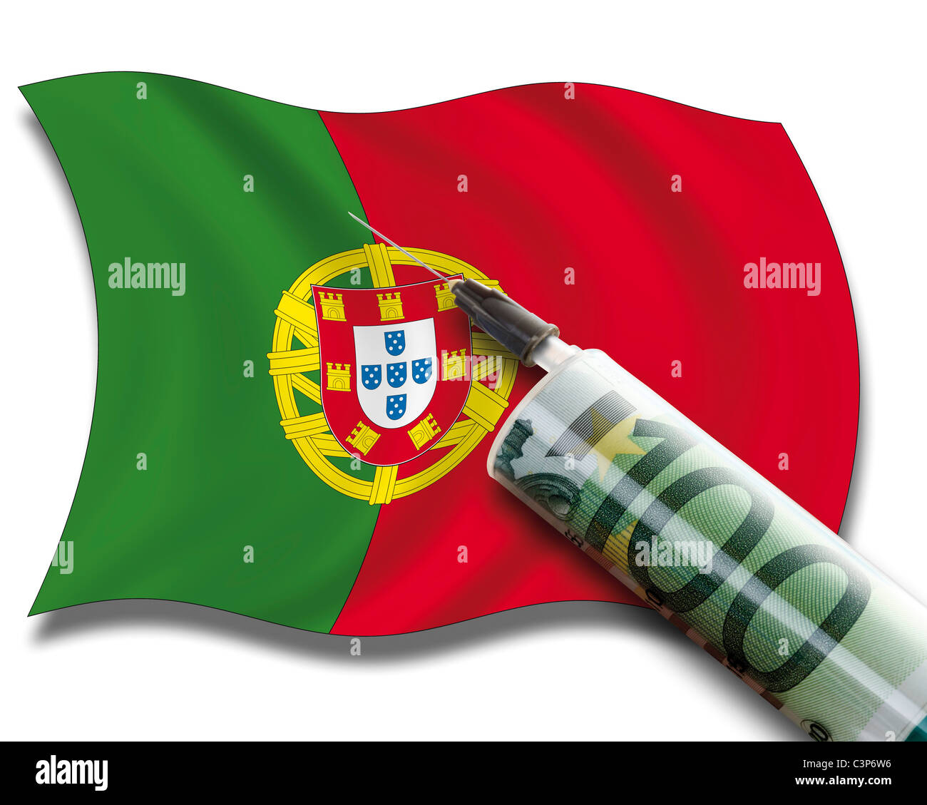 Close up of cash injection on portuguese flag Stock Photo