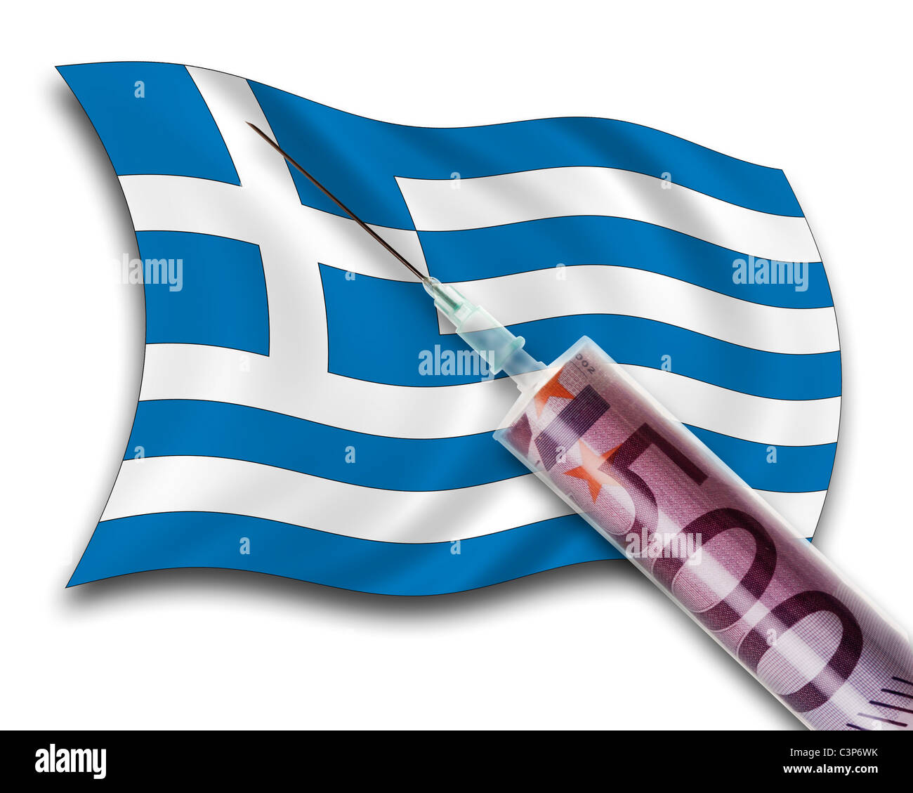 Close up of cash injection on greek flag Stock Photo