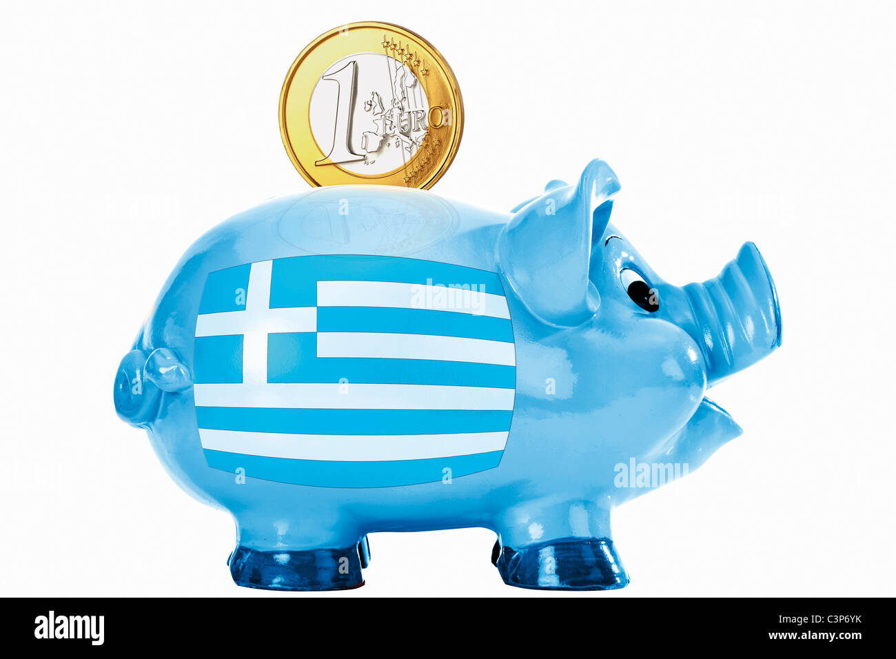 Piggy bank with 1 euro coin and greek flag - Stock Image