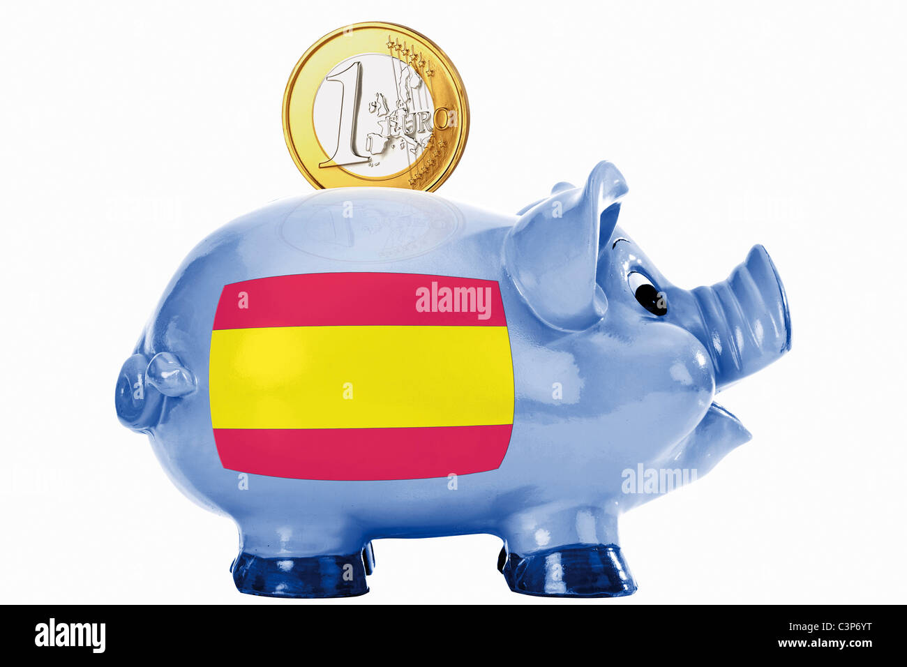 Piggy bank with 1 euro coin and spanish flag - Stock Image
