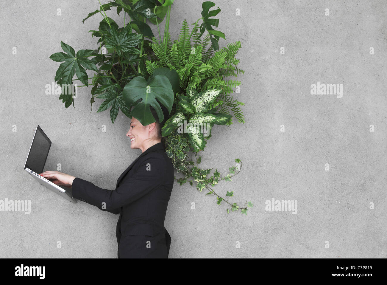 Businesswoman using laptop, foliage plants on head, smiling, portrait, elevated view - Stock Image