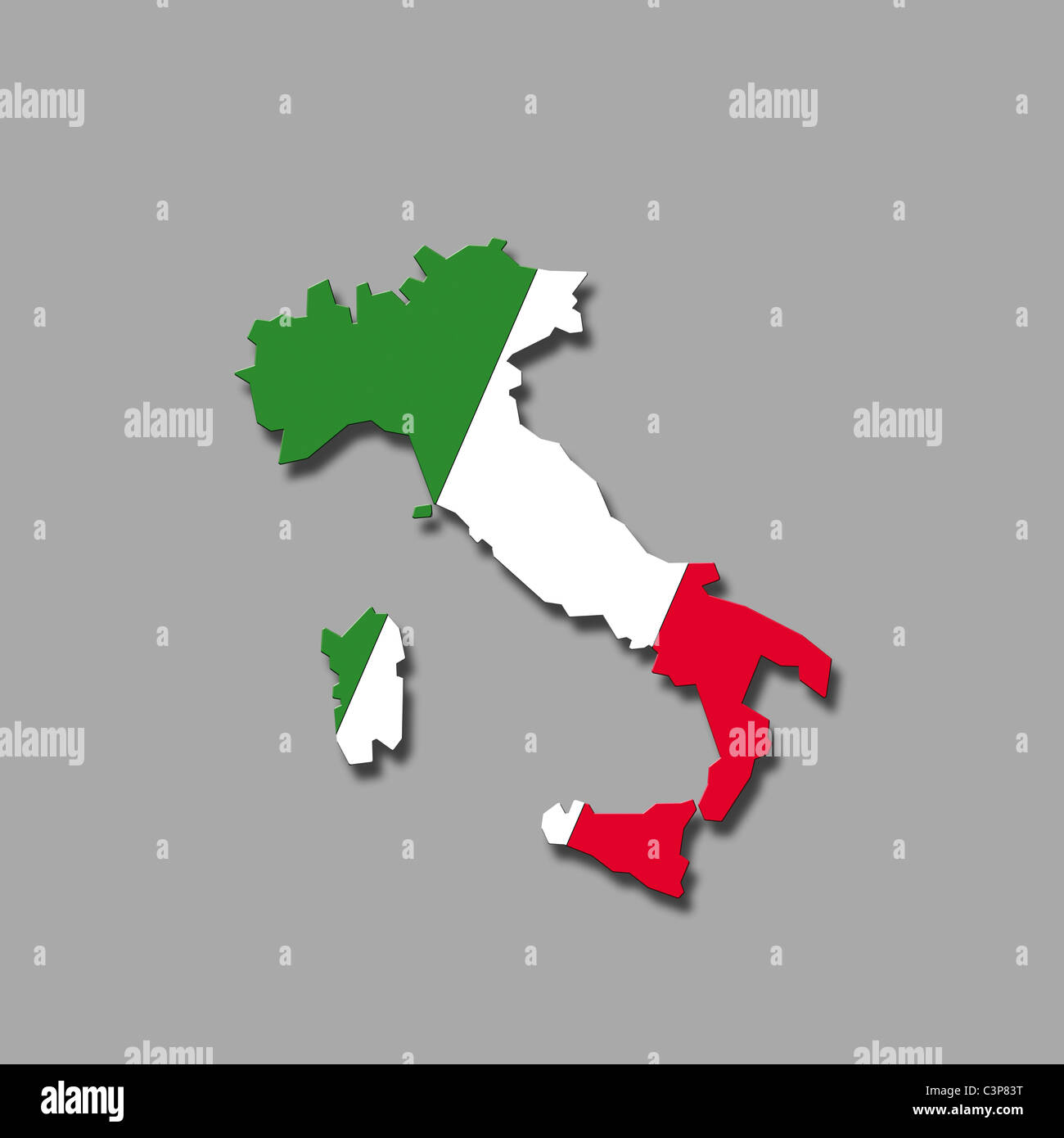 Contour of Italy against grey background, digital composite - Stock Image