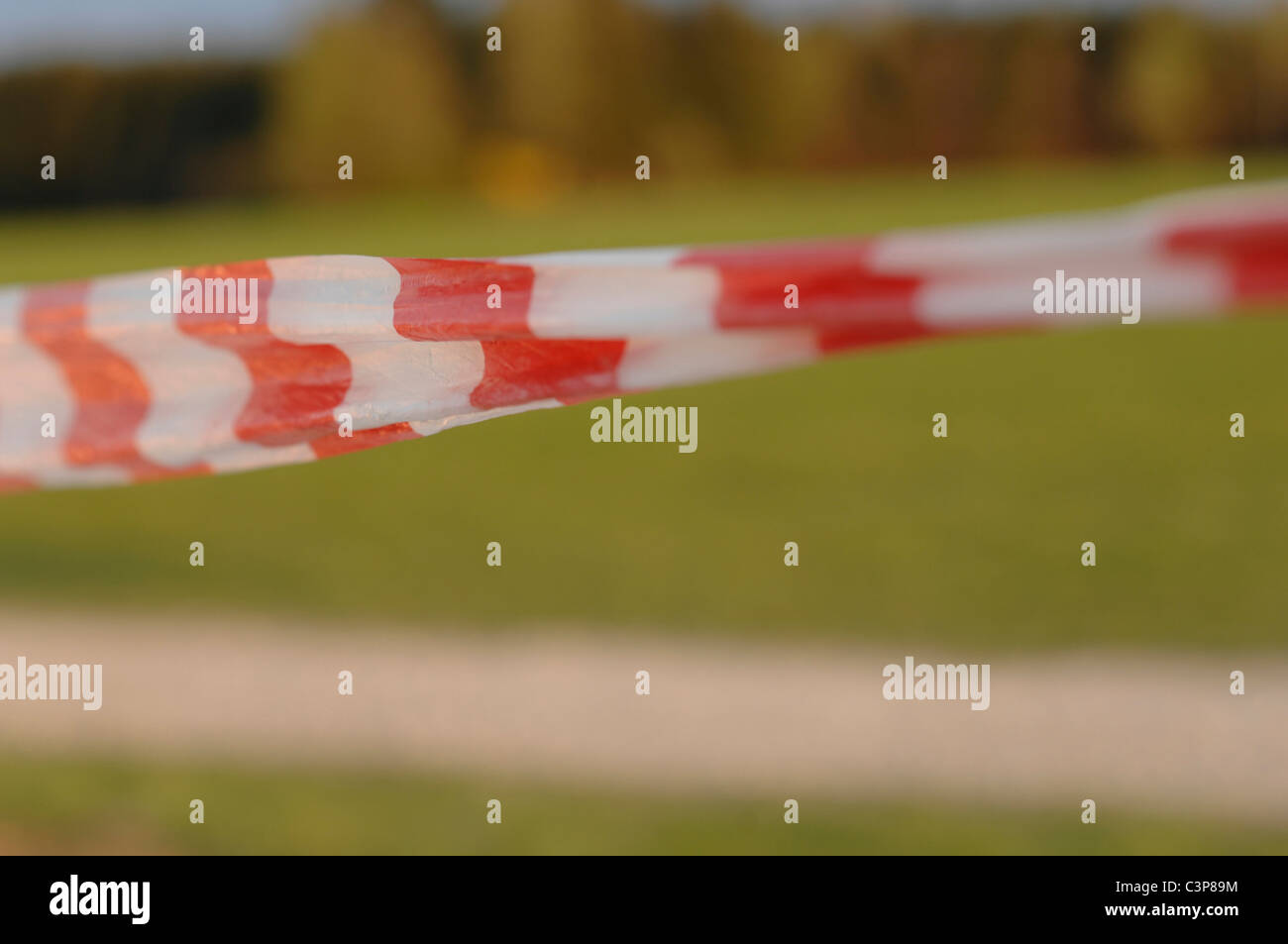 Germany, Barrier tape, white-red, close-up - Stock Image
