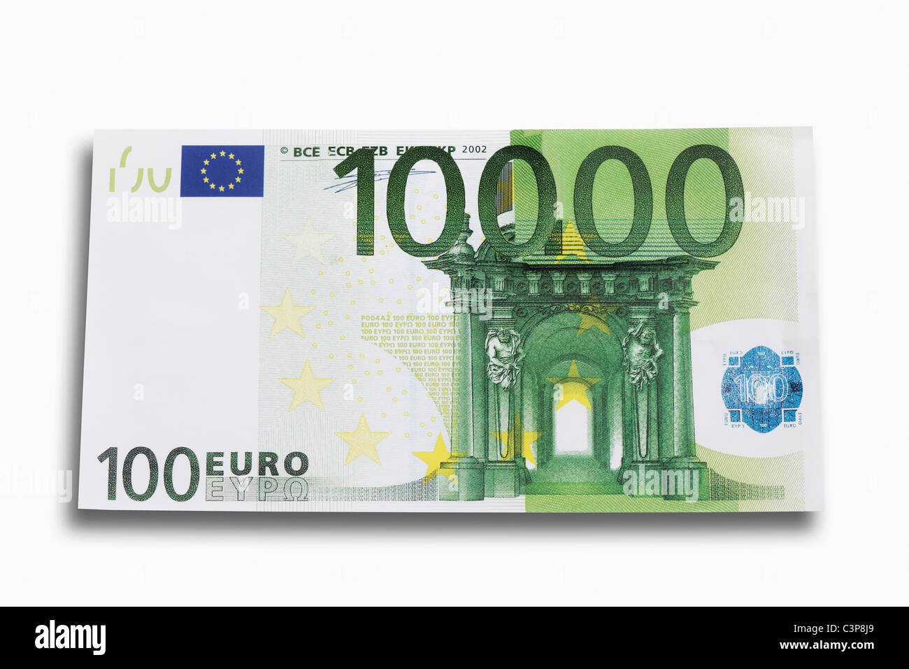 10000 euro note on white background close up stock photo 36754433 alamy. Black Bedroom Furniture Sets. Home Design Ideas