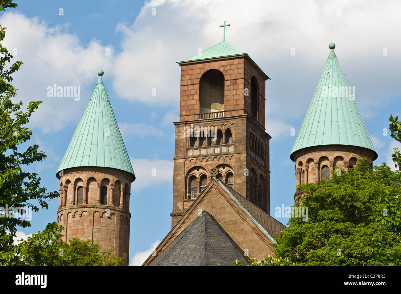 Back view of Erlöserkirche of Essen, Germany - Stock Image