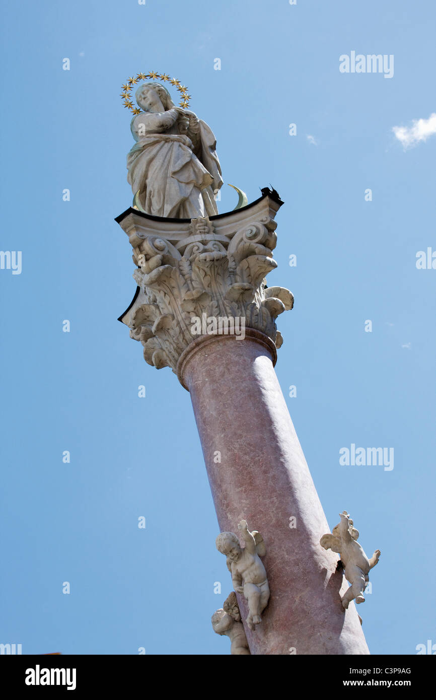 Austria, Tyrol, Innsbruck, Low angle view of statue - Stock Image