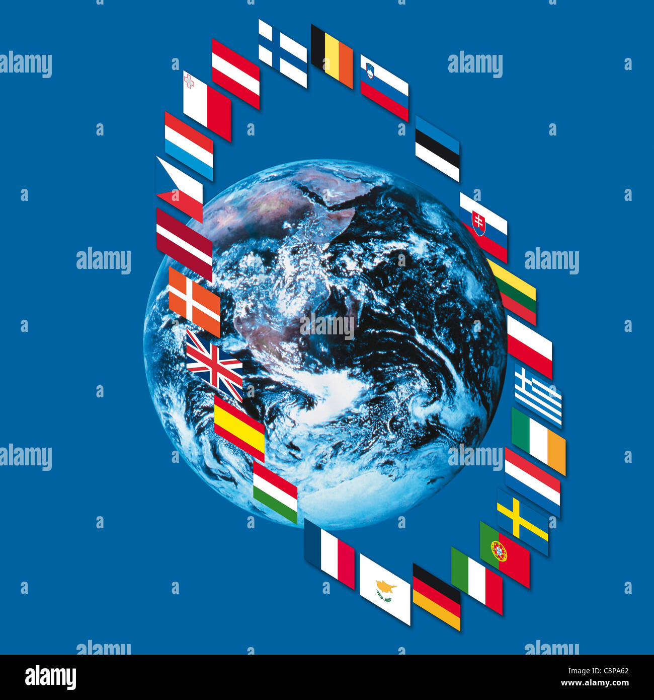 Variety of european flags around earth, close up - Stock Image