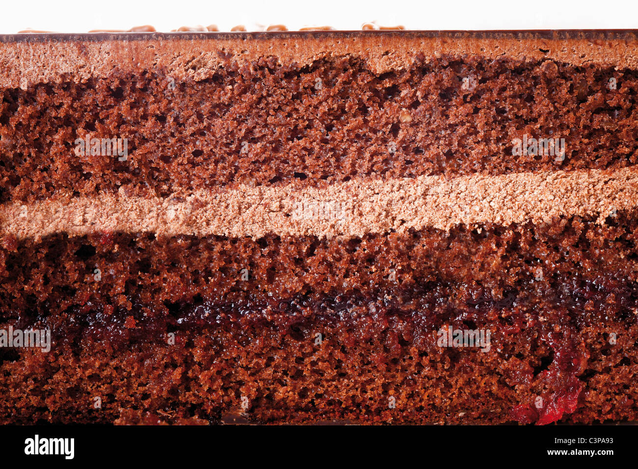 Extreme close up of sacher cake slice - Stock Image