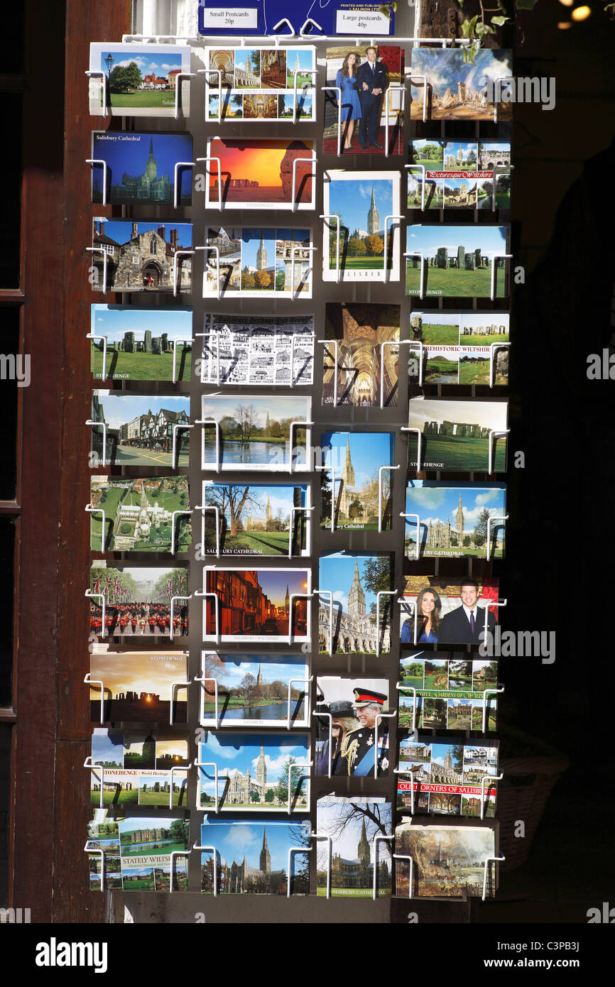 Postcards on sale in Salisbury, UK - Stock Image