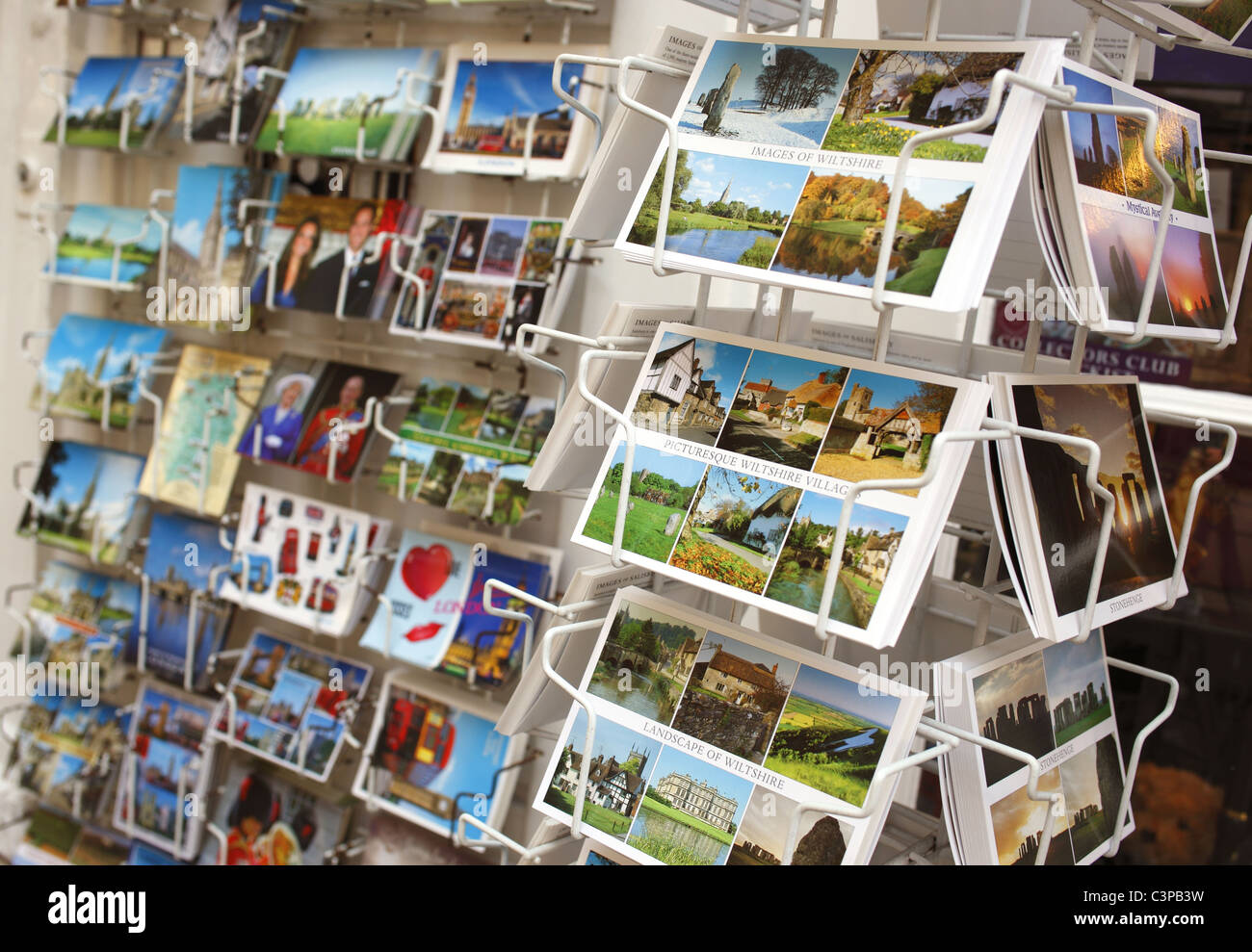 Postcards on sale in Salisbury, UK. - Stock Image