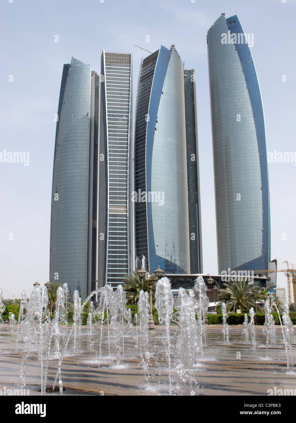Modern high rise Etihad towers in Abu Dhabi United Arab Emirates UAE - Stock Image