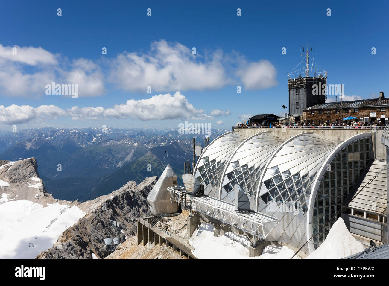 Austria, Tyrol, Zugspitze, Observation point and mountain ranges - Stock Image