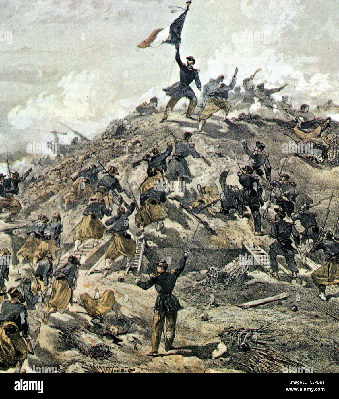 CRIMEAN WAR : Battle of Malakoff 7 September 1855 during the siege of Sevastopol from painting by William Simpson - Stock Image