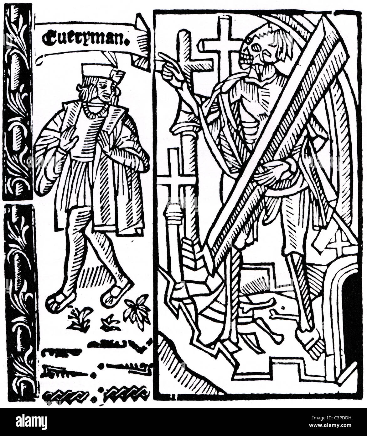 EVERYMAN Woodcut from title page of 1530 edition of the Medieval morality  play