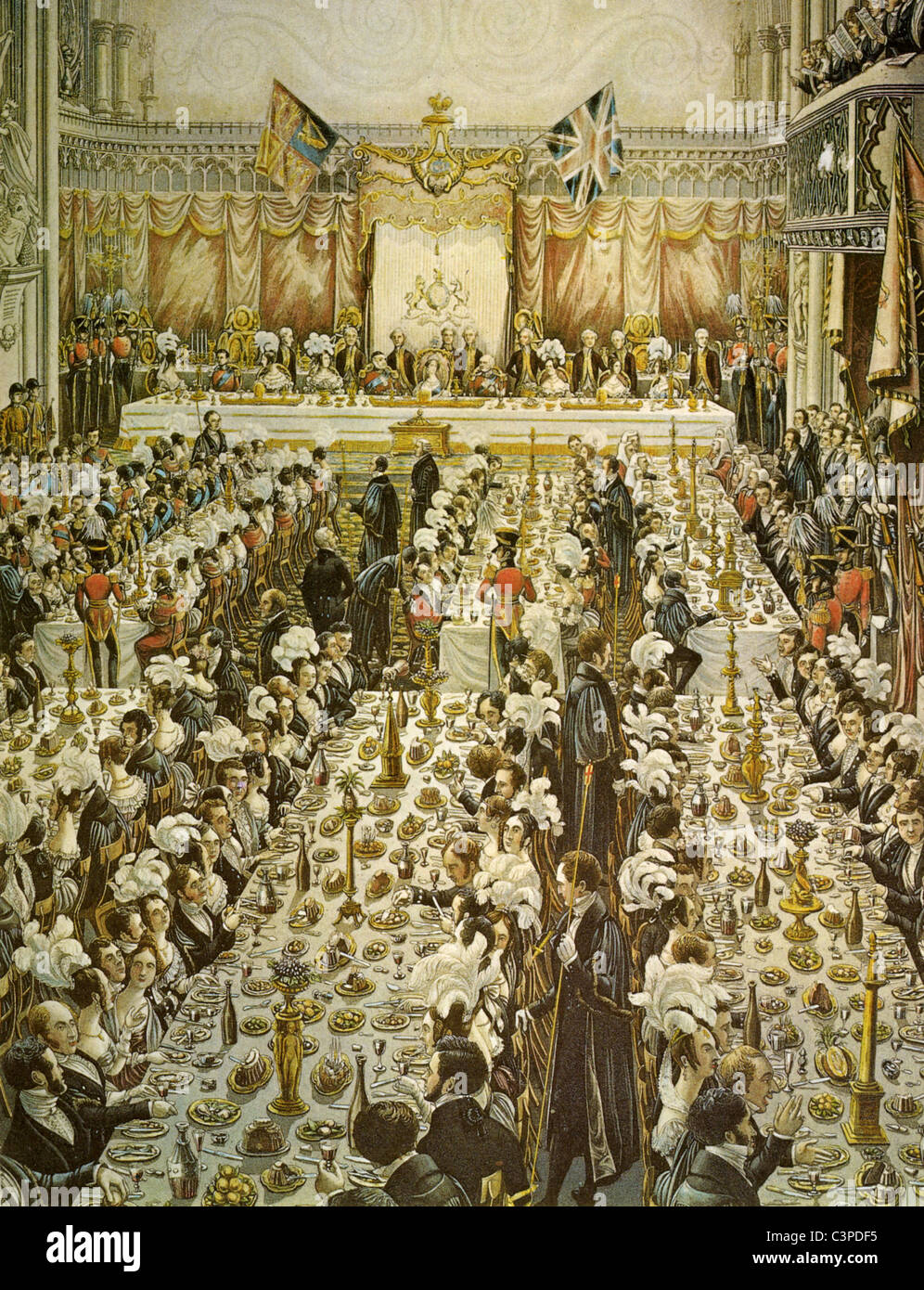 QUEEN VICTORIA  Banquet given for her by the Lord Mayor of London on 9 November 1837 - Stock Image