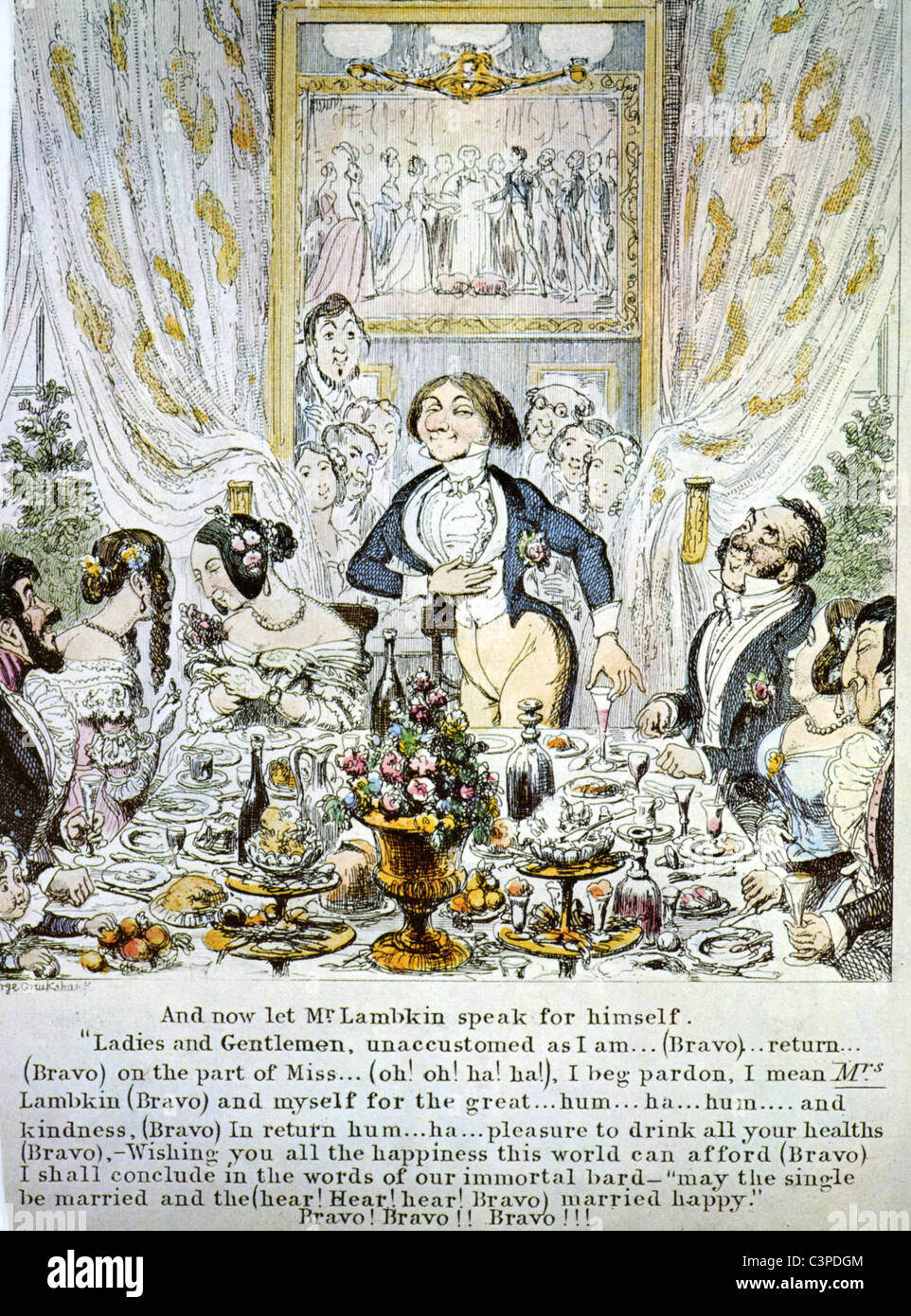 TOASTMASTER George Cruikshank cartoon of the boring Mr Lambkin about 1845 - Stock Image