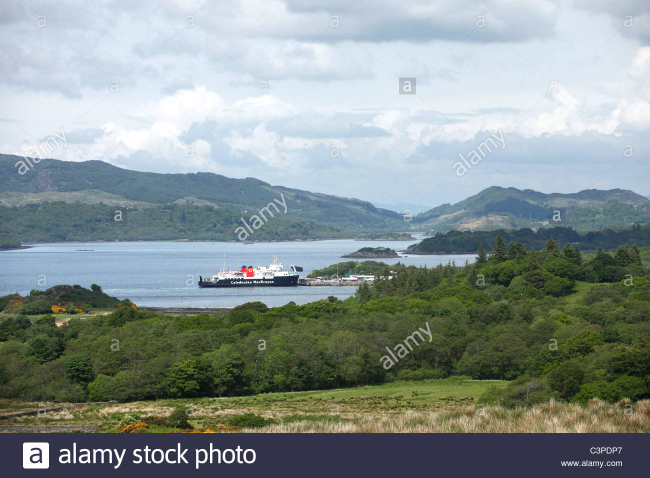 The Caledonian MacBrayne ferry at Kennacraig prior to sailing to the Isle of Islay, West Loch Tarbert, Kintyre, - Stock Image
